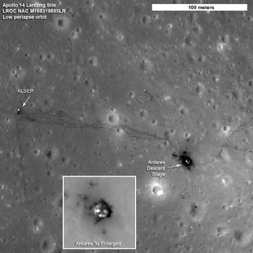 Moon Footsteps and Astronaut Trash Photographed by NASA Orbiter (Photo)