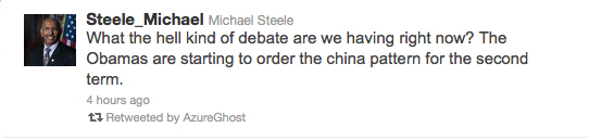 """Michael Steele: """"Obamas Are Starting to Order the China Pattern for the Second Term"""""""