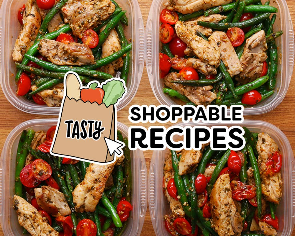 meal prep containers with shoppable recipes logo