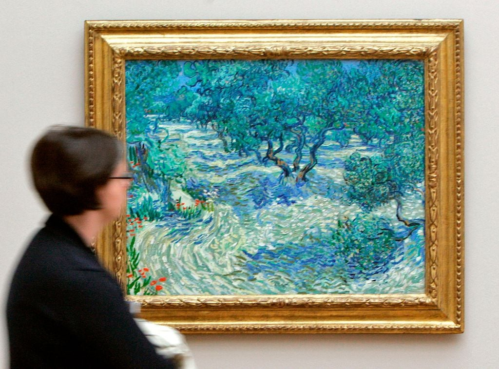 A whimsical Van Gogh painting a forest-scape