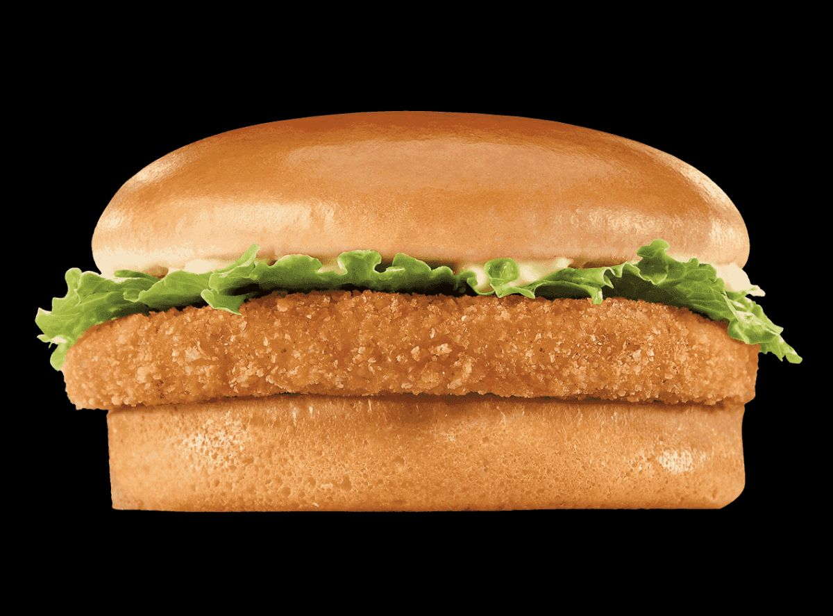 A crispy chicken sandwich with lettuce and mayo