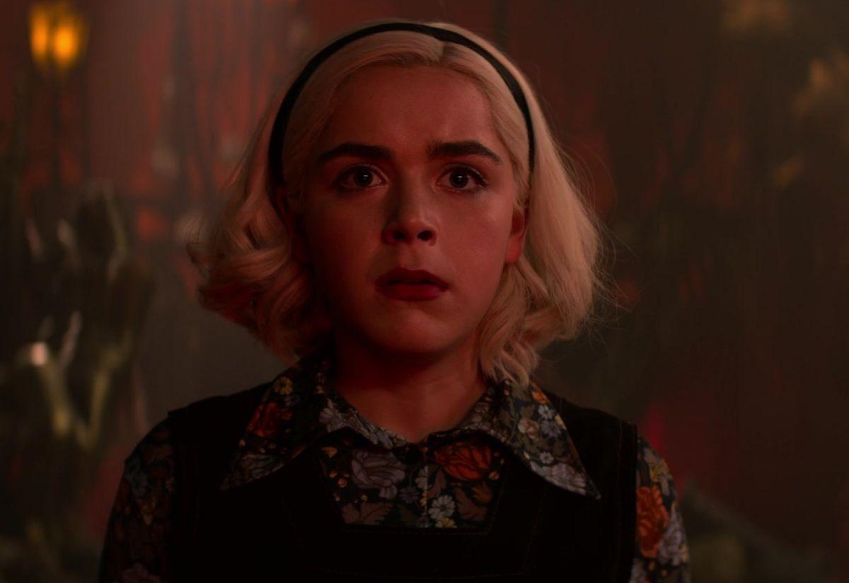 "Kiernan Shipka as Sabrina Spellman in the show ""Chilling Adventures of Sabrina."""
