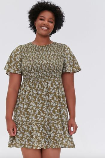 model in flutter sleeve olive floral dress