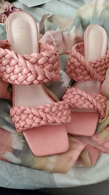reviewer image of the two-strap braided heels in peach