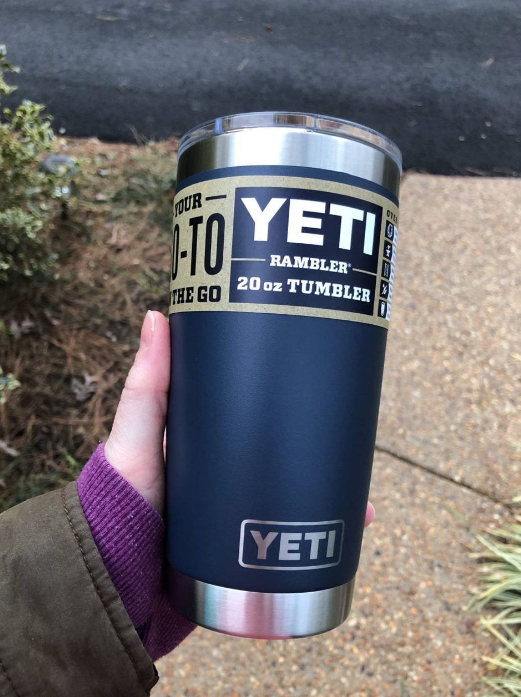 reviewer holding the YETI rambler