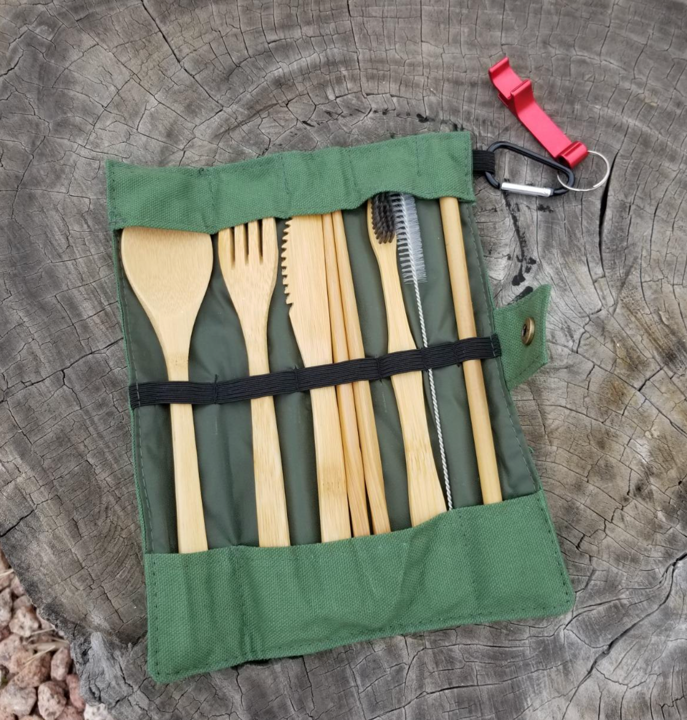 reviewer photo showing the bamboo cutlery set in its packaging
