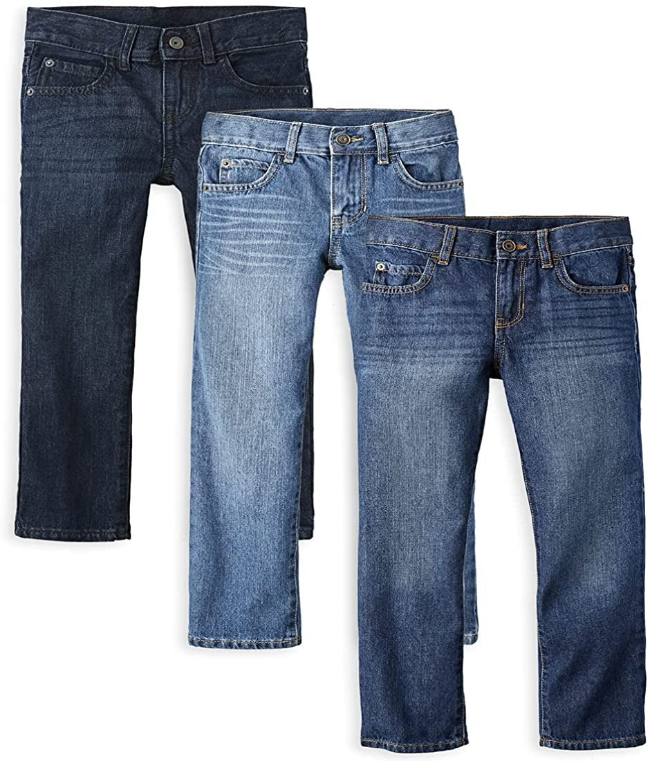 three pairs of kids denim in different washes