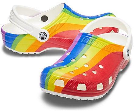 Pride rainbow stripe Crocs
