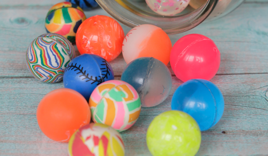 bouncy balls on a table