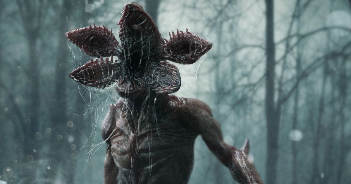 A Demogorgon is standing in the middle of a forest