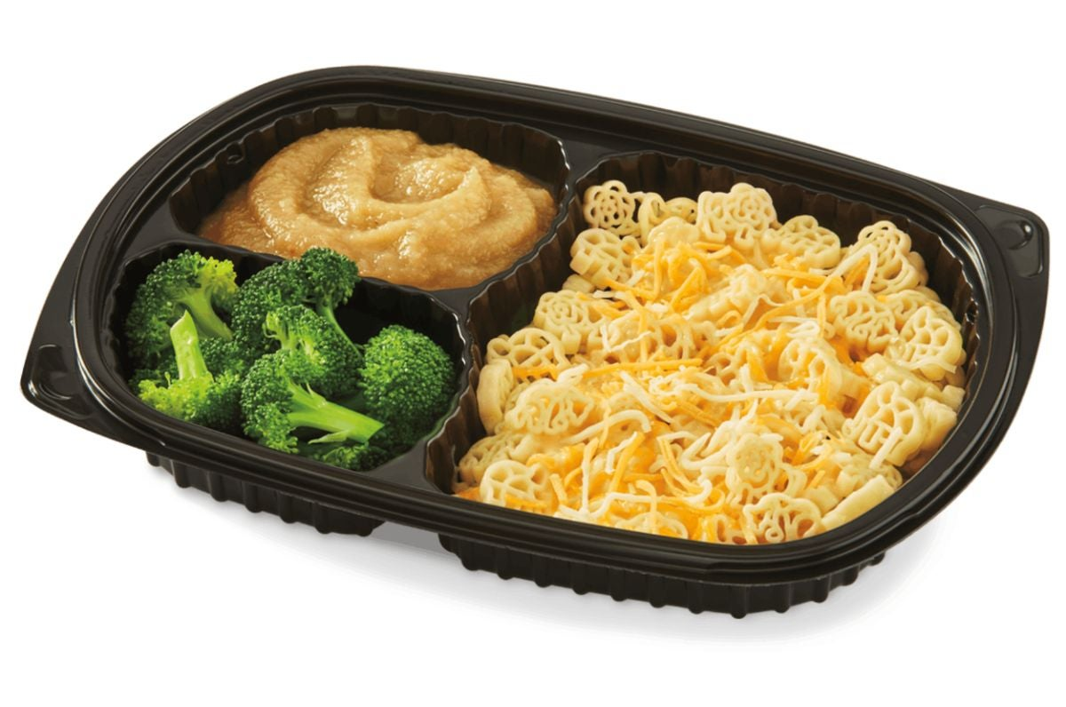 Mac 'n' cheese with a side of steamed broccoli and applesauce