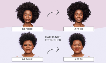 two models before and after using the products, with their curls much more defined after