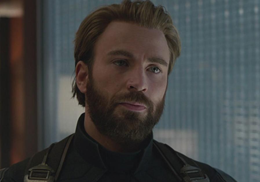 "Chris Evans as Steve Rogers in the movie ""Avengers: Infinity War."""