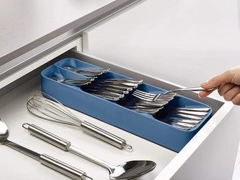the blue cutlery organizer