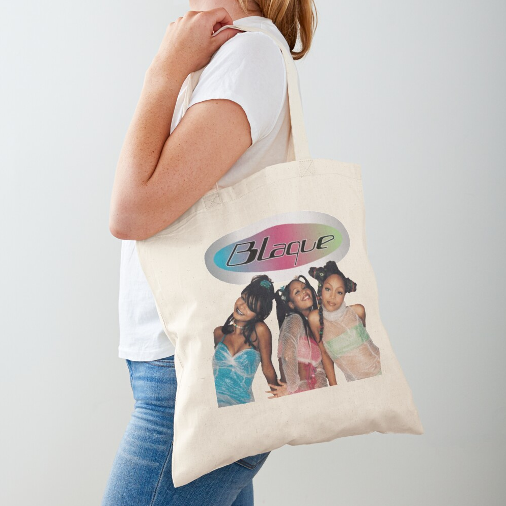 tan cotton tote bag with a printed image of Blaque on it and their logo