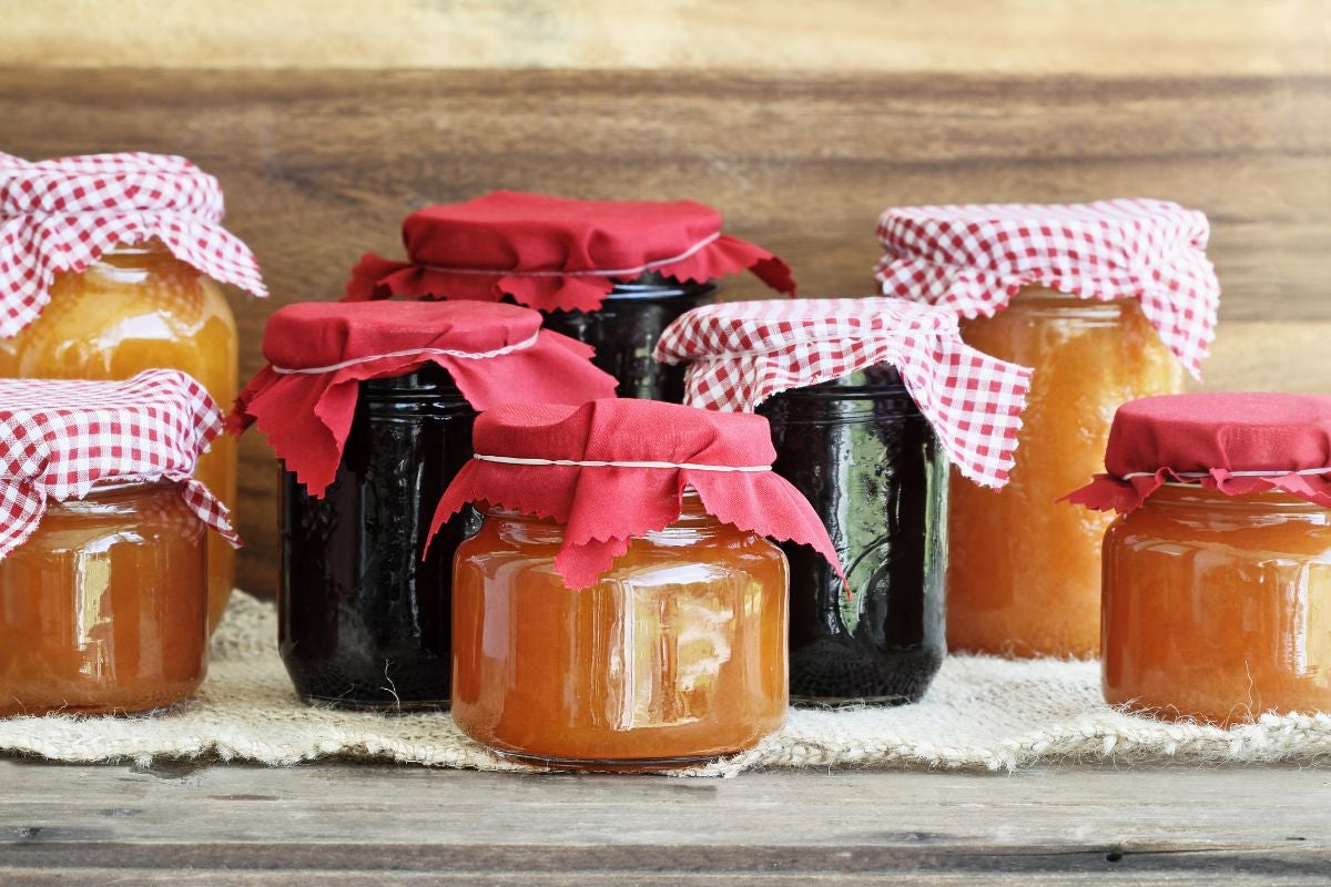 A variety of homemade jams in jars