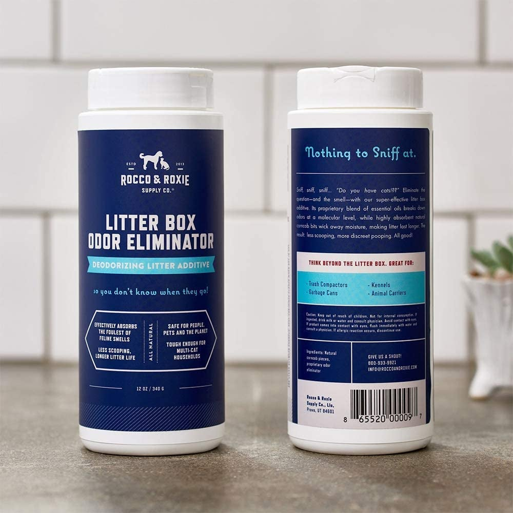 The cylinder-shaped container of litter box odor eliminator
