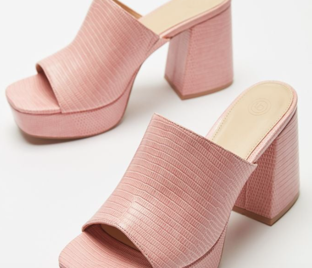 pink faux snakeskin sandals with a thick square heel