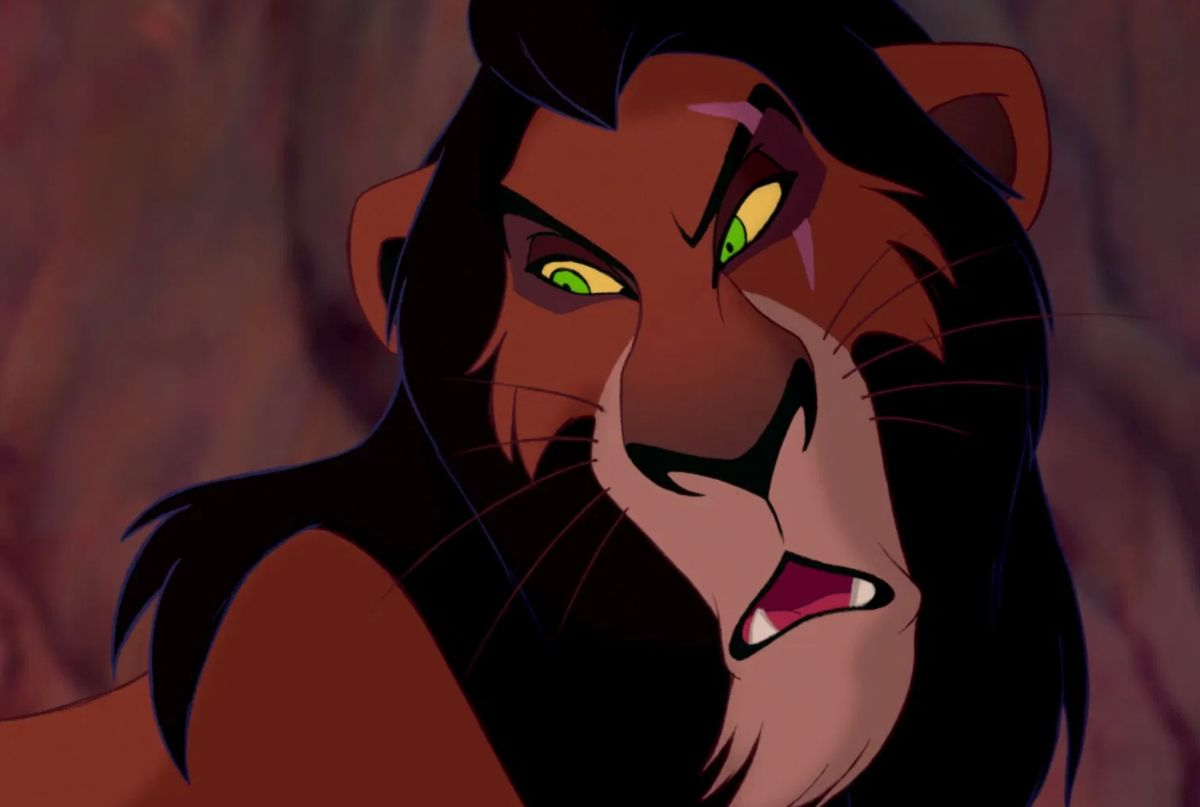 "Jeremy Irons as Scar in the movie ""The Lion King."""