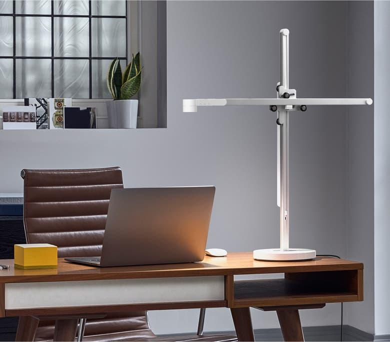 the task light on a desk