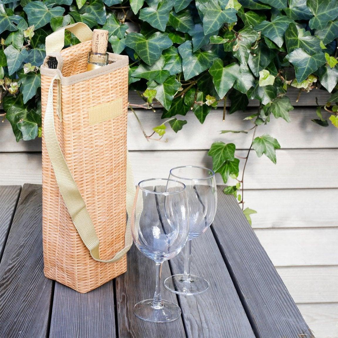 wicker wine cooler with a bottle inside