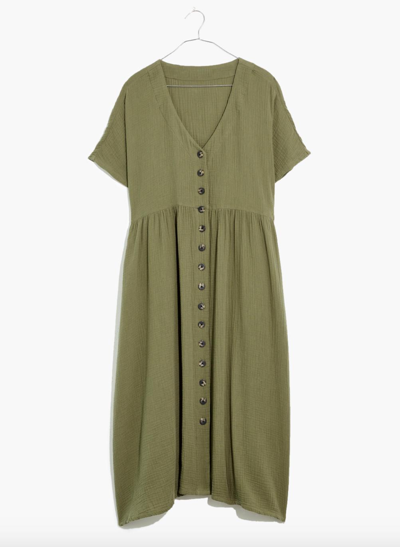 an olive green lightweight t-shirt midi dress