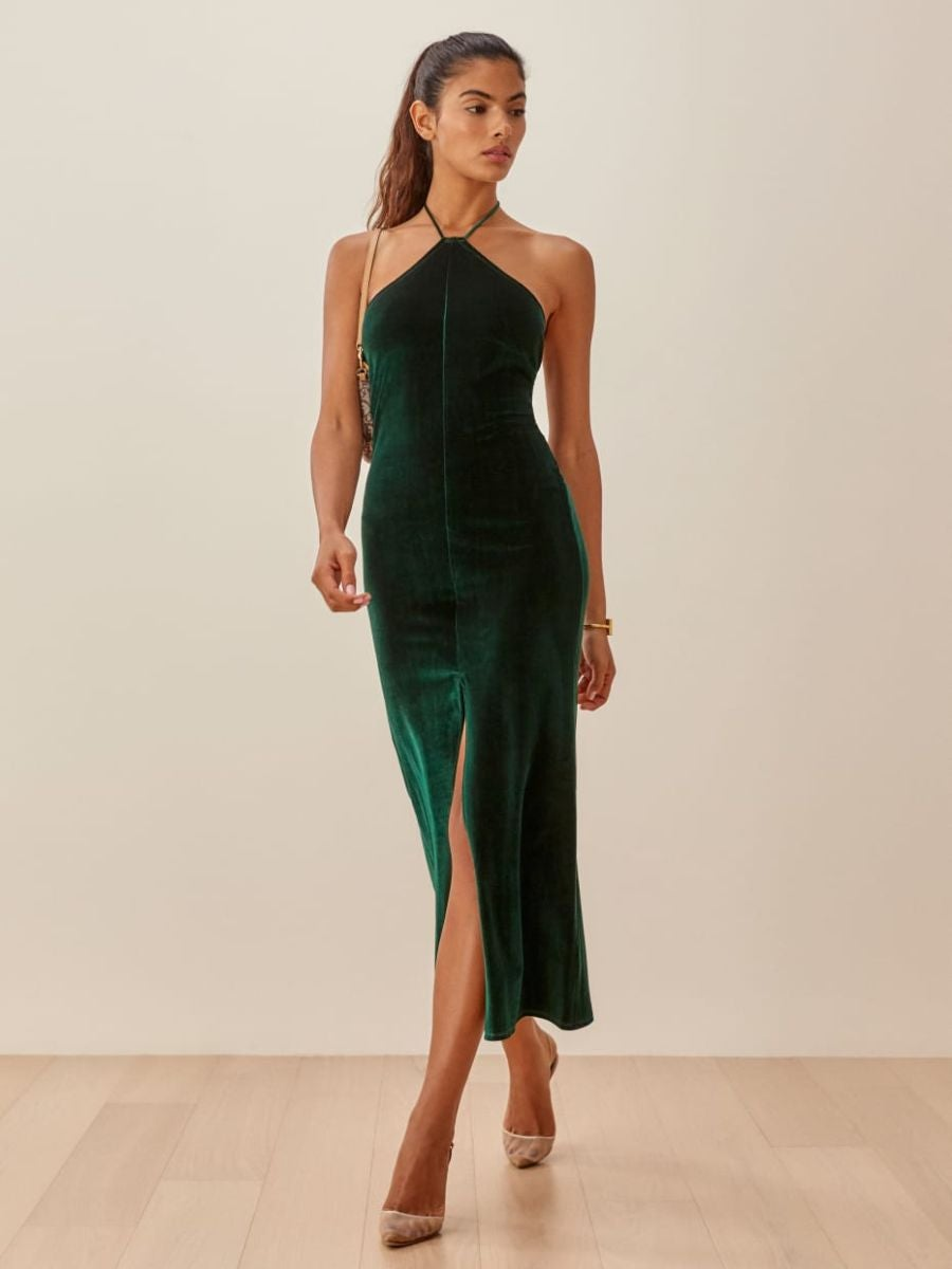 A velvet dress with a halter neck