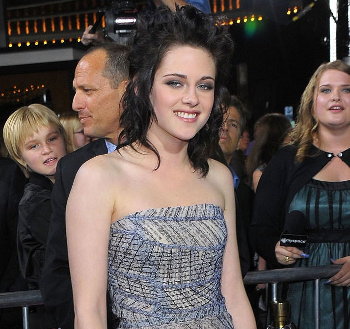 Kristen Stewart wears a strapless, patterned gown