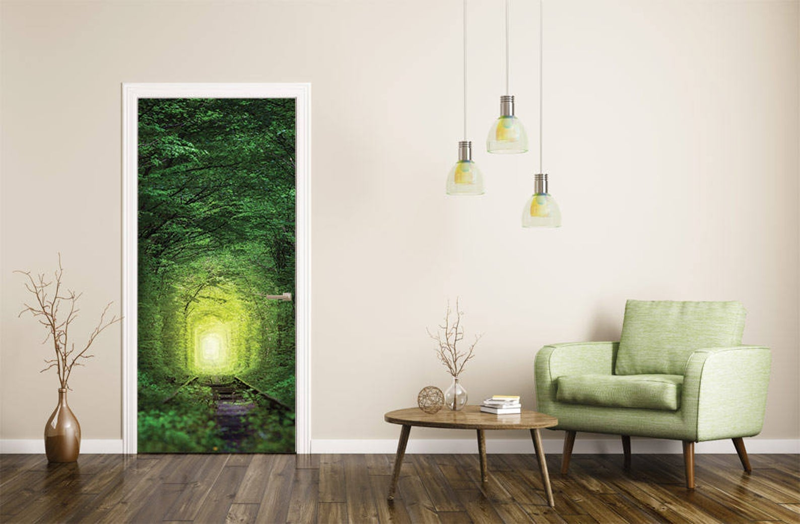 a forest path way decal