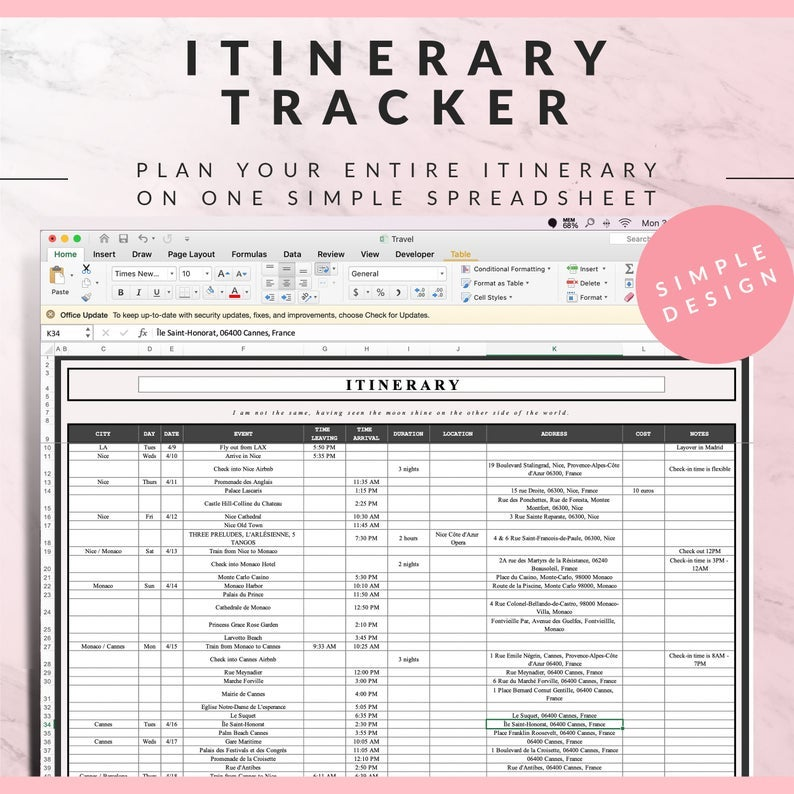 screenshot of the digital planner sheet showing an itinerary template
