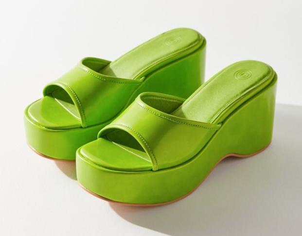 Lime green chunky slides
