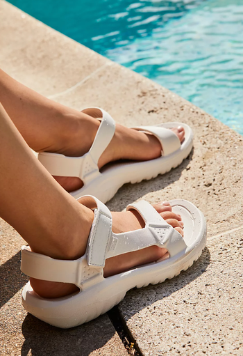 the strappy, chunky sandals in white