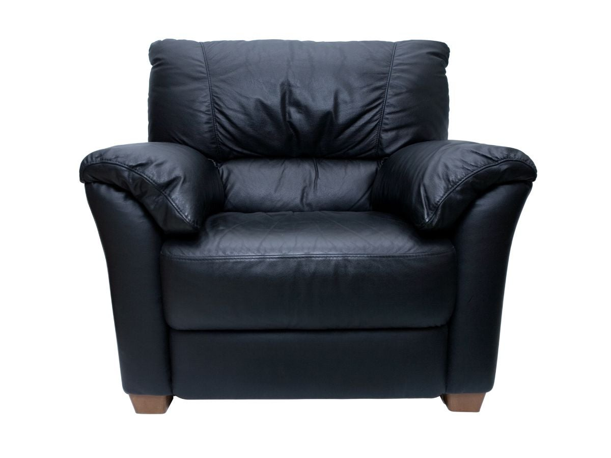 A big, comfy black leather chair
