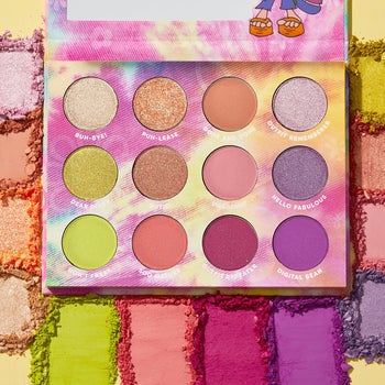 the palette with colorful eyeshadow shades
