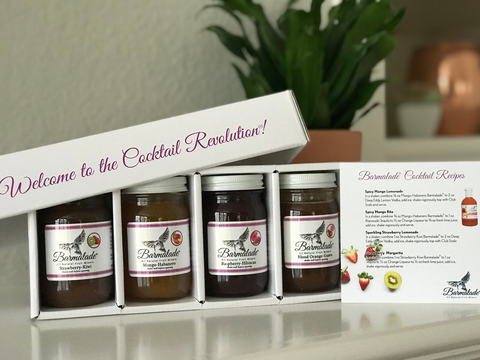 the pack of four jars of barmalade and a cocktail recipe card