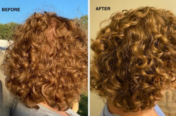 reviewer before and after photo of short, curly hair
