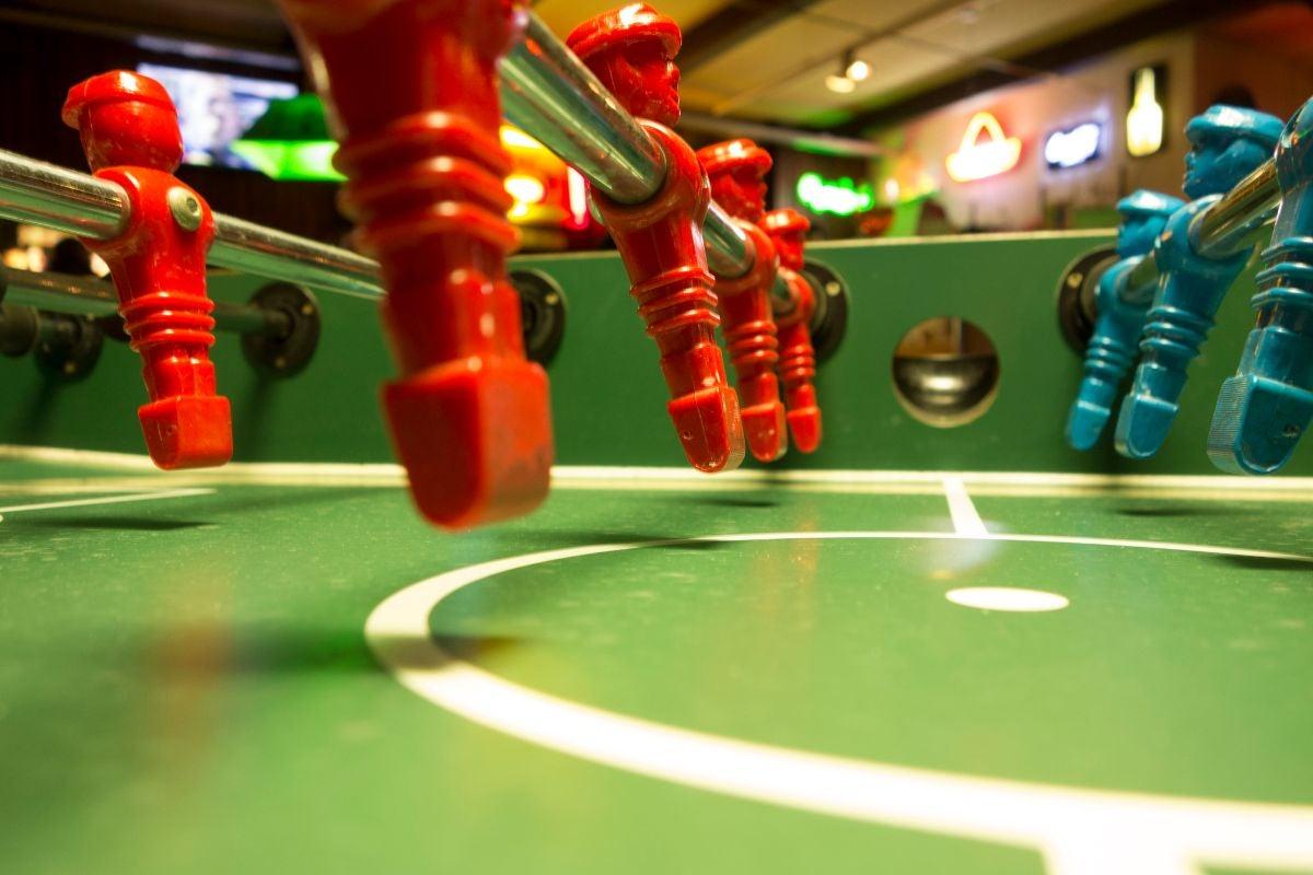 A foosball table