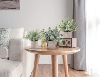 The three green leafy faux plants in gray pots settled on an end table