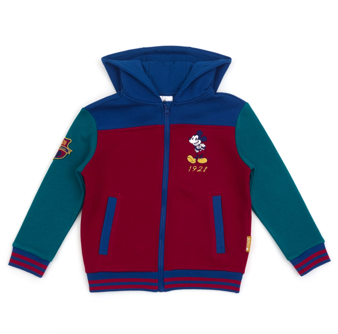 a zip-up sweatshirt with mickey on it and red, green, and blue coloring