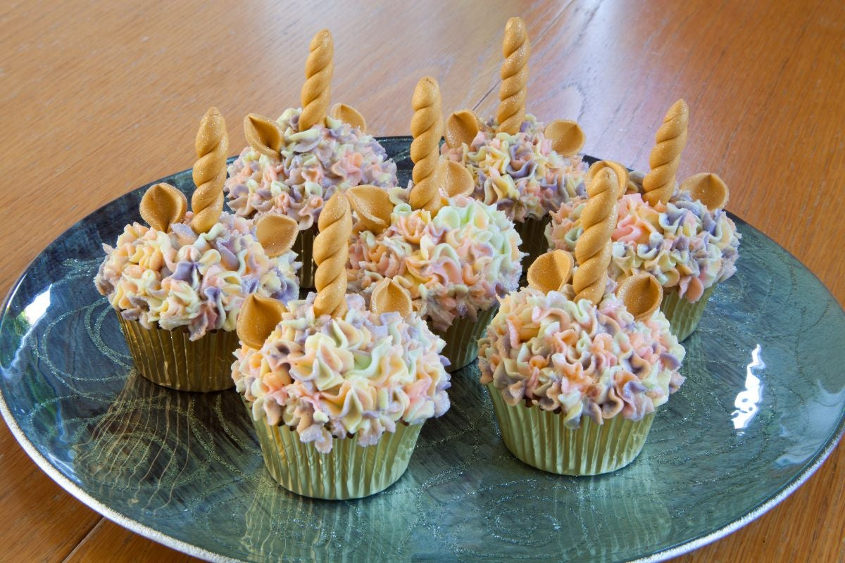 Cupcakes decorated to look like unicorns