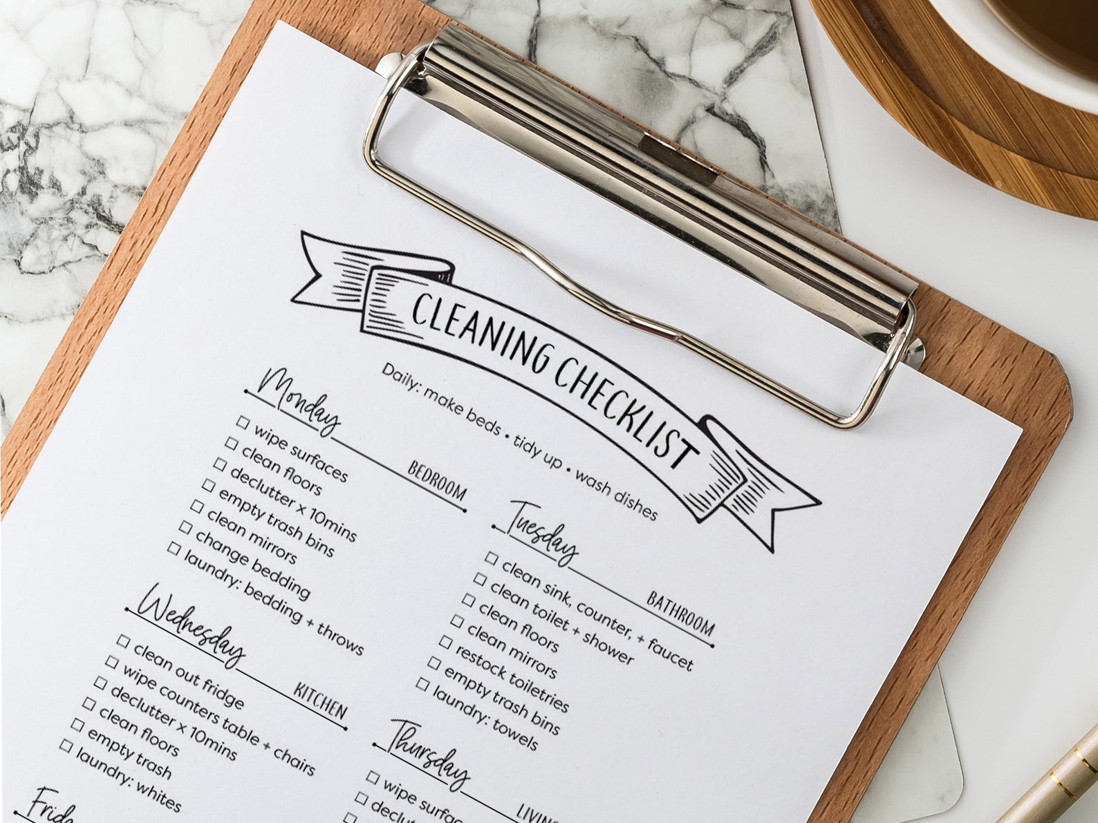 A printable of a cleaning checklist with tasks like