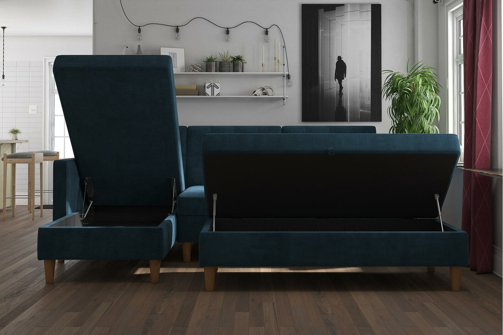 couch with cushions that move up to reveal surface
