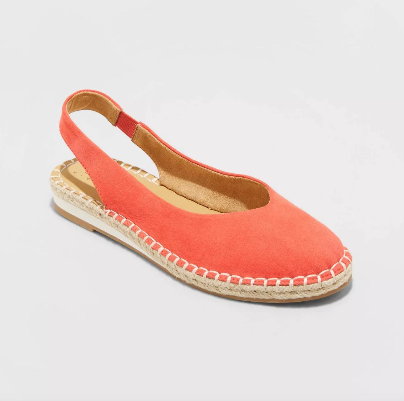 rounded toe sling-back espadrilles in orange