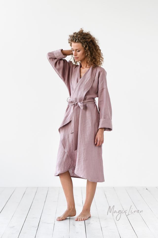 model in knee length robe