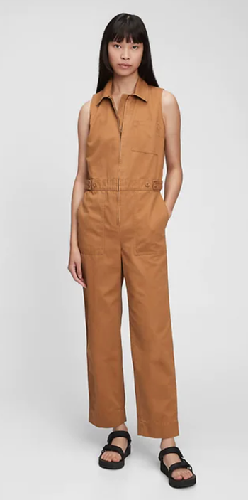 front view of a model in the tan jumpsuit