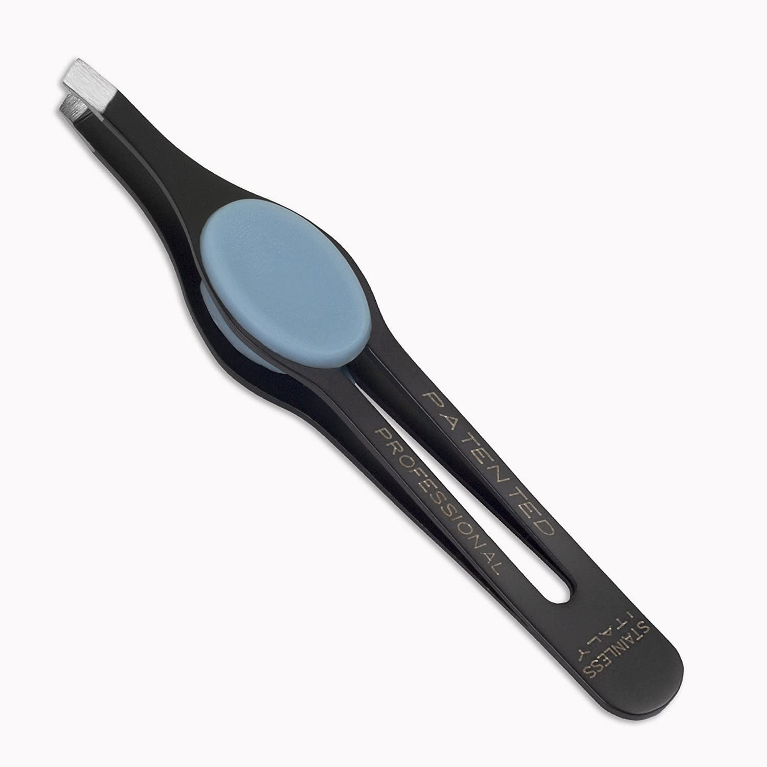 A pair of black tweezers with wide blue pads on the side for fingers to press on