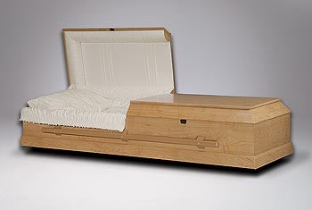 A simple wood coffin, no frills