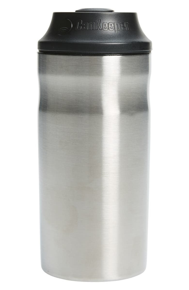 the stainless steel can holder with black lid