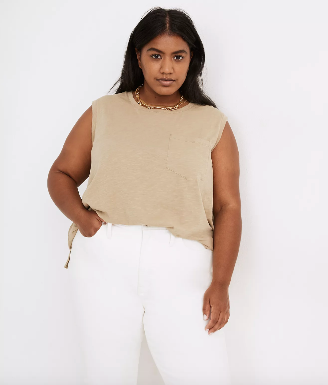 model wearing the olive green tank