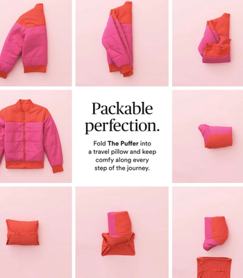 eight boxes showing how the jacket folds up and fits into a small bag that makes it a pillow